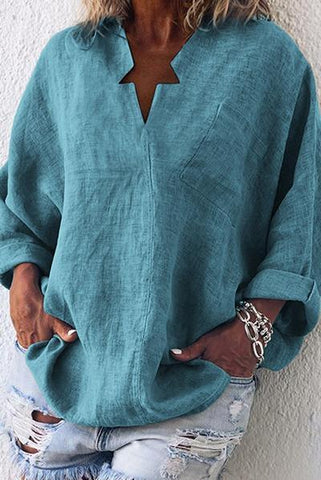 Women's Pure Color Loose Long-Sleeved Casual Blouses