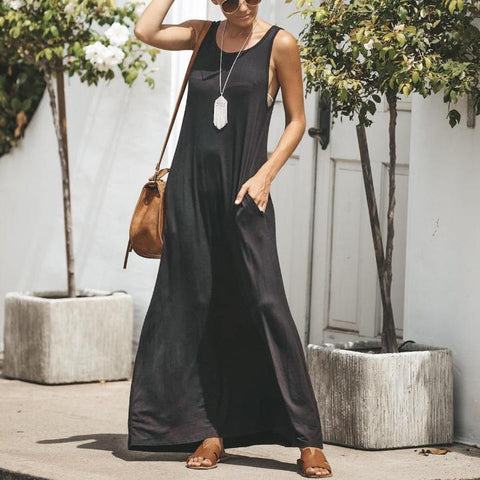Summer Bohemian Sleeveless Round Neck Long Vest Dress