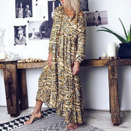 Casual V-Neck Bandwidth Pine Abstract Style Print Maxi Dress