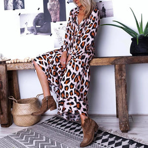 Casual V Neck Animal Printed Dress