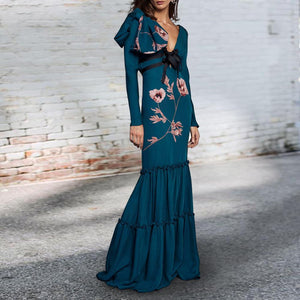 Sexy Deep V Collar Belt Bow Floral Printed Fishtail Maxi Dress