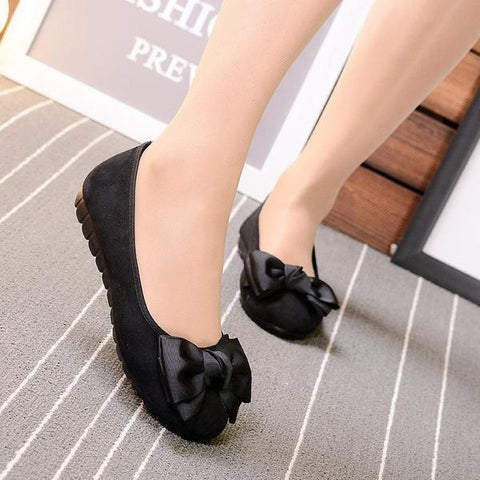 Solid Color Bow Flat Shoes