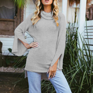 Flared Sleeve Slitted Turtleneck Sweater