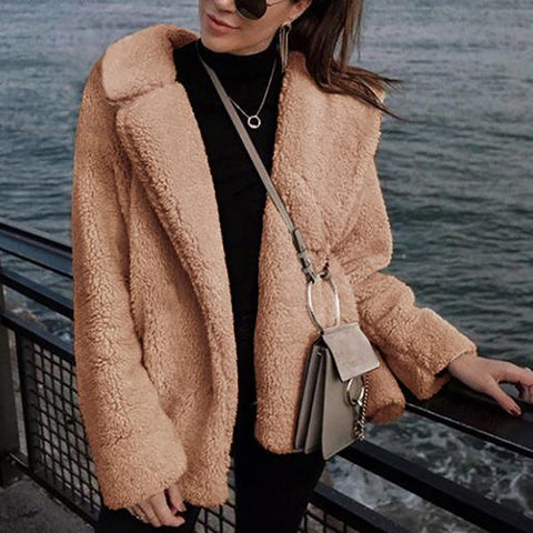 Fashion Suit Collar Plush Coat