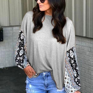 Casual Round Collar Lace Stitching Long-Sleeved T-Shirt Blouse