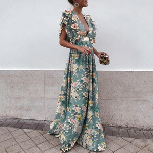 Sexy Deep V Collar Floral Printed Maxi Dress