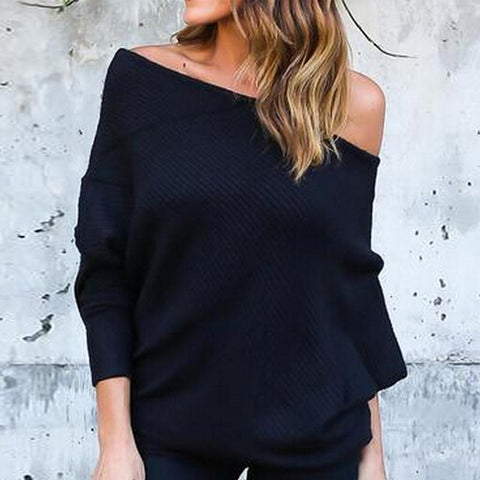 Open Shoulder  Plain  Sweaters