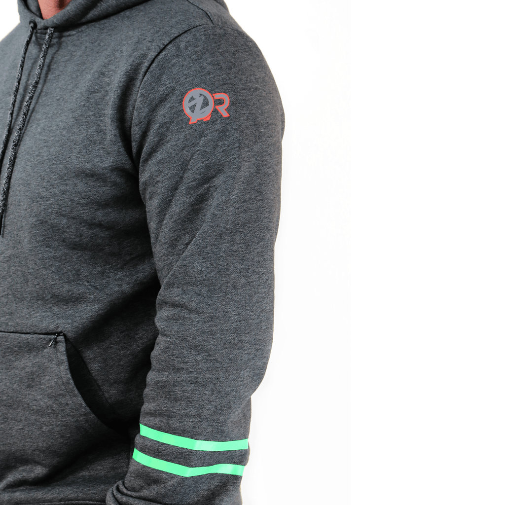 ZQR logo on arm of the sweatshirt. Let's you know that the piece is a unique byCRUZ design that is made specifically to help you feel more secure.