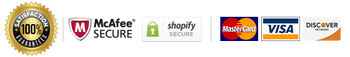 Satisfaction 100% guaranteed, McAfee Secure, Shopify Secure, MasterCard, Visa, Discover