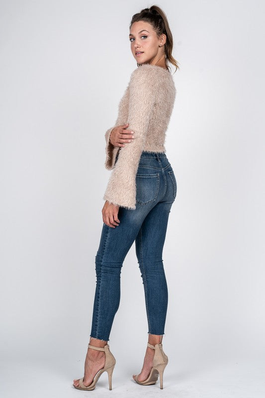 Fore | Fuzzy Bell Sleeve Crop Sweater (2 colors)