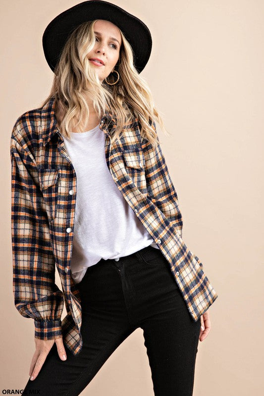 Kori | Orange Mix Plaid Button Up Flannel