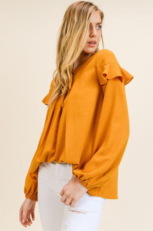 Doe & Rae | Yellow Pleated Top