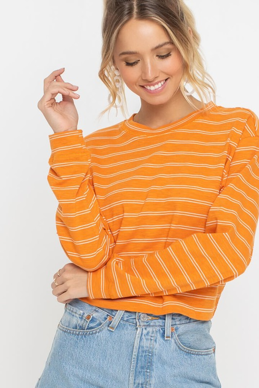 Lush | Orange Striped Drop Shoulder Top