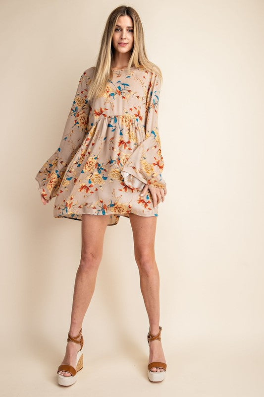 Kori | Tan Crinkle Satin Floral Boho Dress