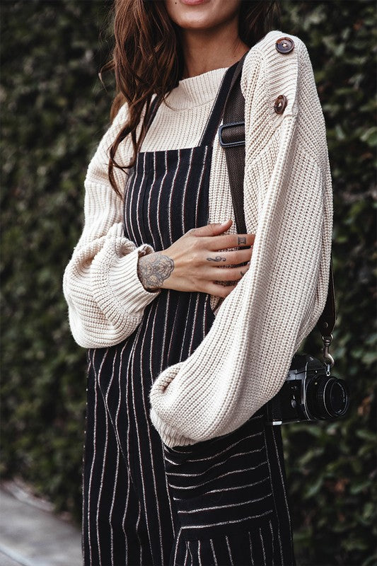 All In Favor | Black Striped Knit Overalls