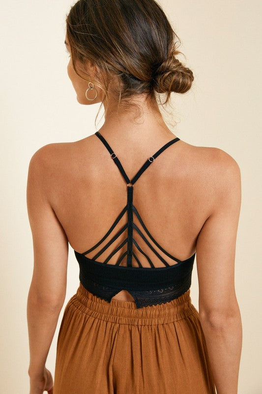 Hayden | Black Crochet Back Strap Halter Cropped Top