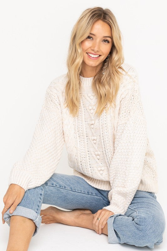 Lush | Pompom Cable-Knit Sweater