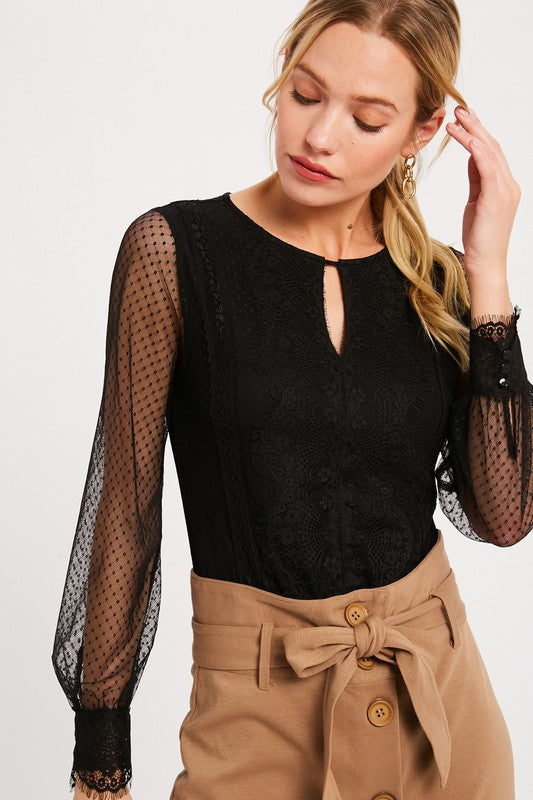 Wishlist | Black Sheer Sleeve Bodysuit