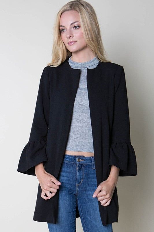 Fore | Black Jackie O Bell Sleeve Coat