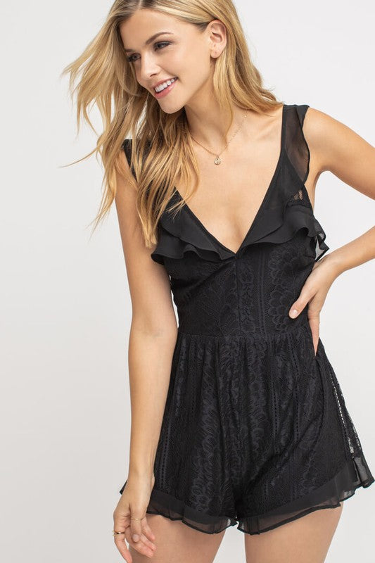 Lush | Black Ruffle and Lace Cocktail Romper