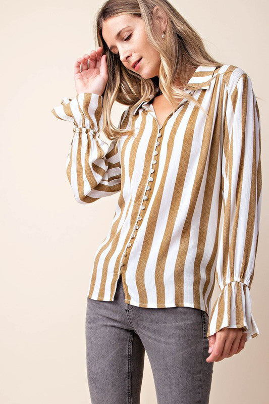 Kori | Brown Romantic Button Down Blouse