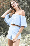 Fore | Blue Woven Off The Shoulder Top