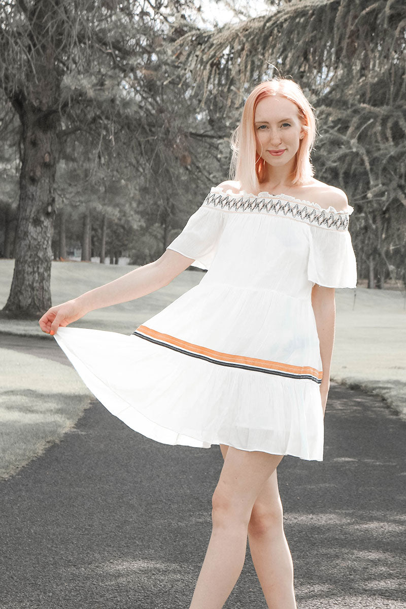Hayden | White Off-Shoulder Tiered Swing Dress