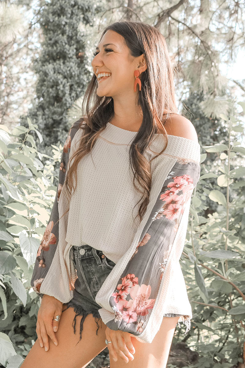 Kori | Cream Floral Off-Shoulder Thermal Top