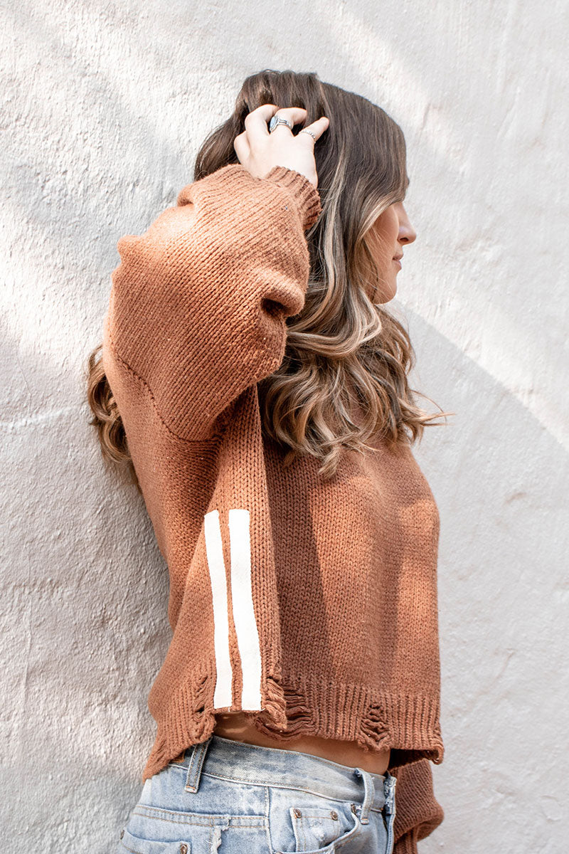 POL | Orange Soft-Knit Double Stripe Sweater