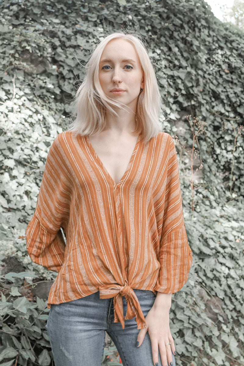 Blu Pepper | Brown Stripe Front Tie Top