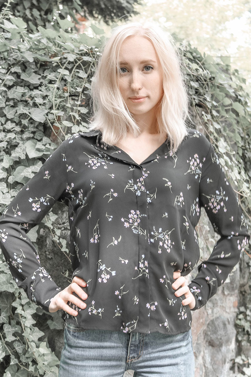 Fore | Black Floral Print Button Up Blouse