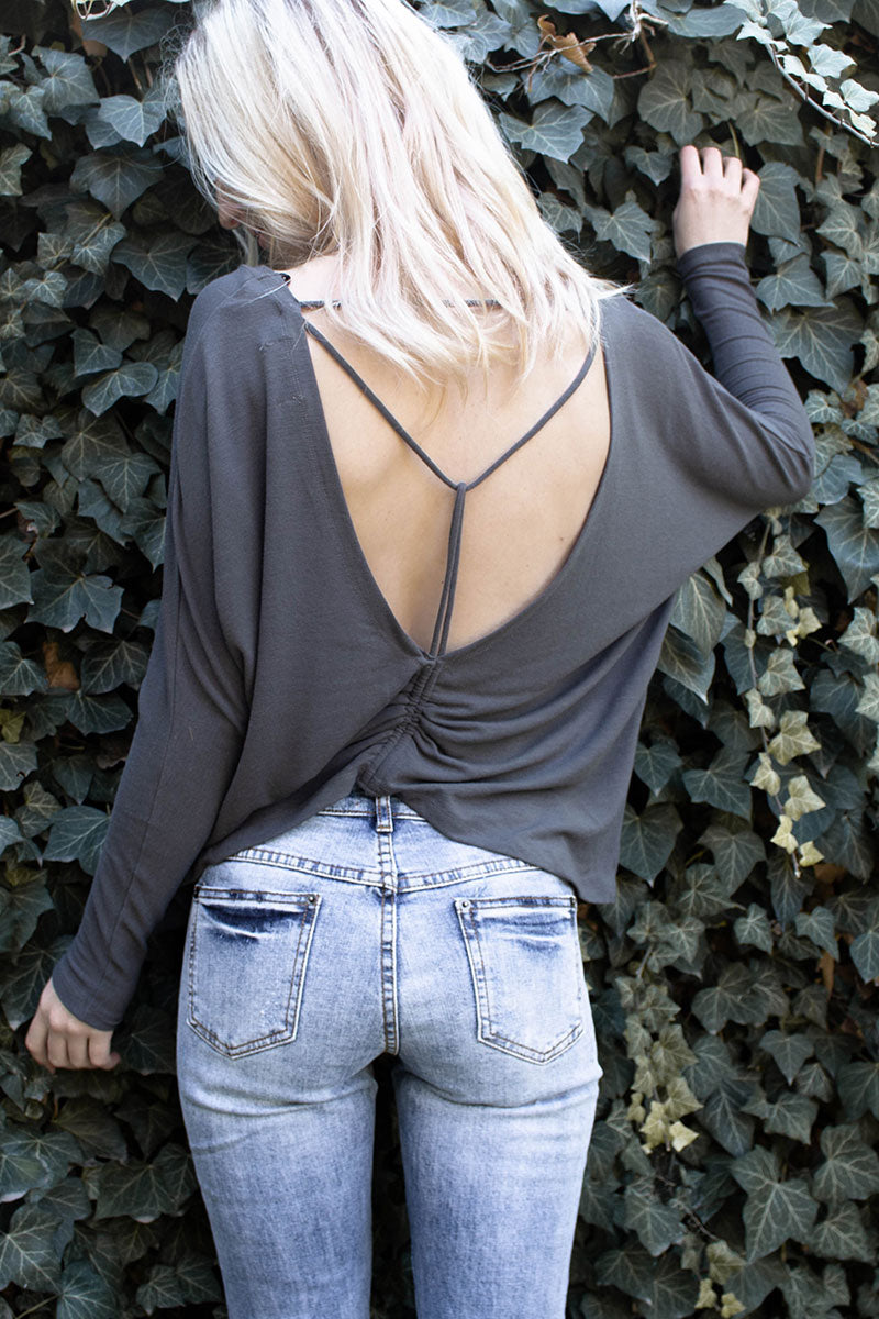 Mustard Seed | Grey Back Drawstring Jersey Top
