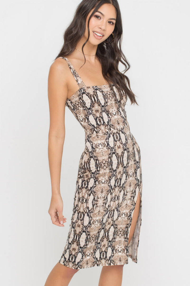 Lush | Brown Python Midi Dress