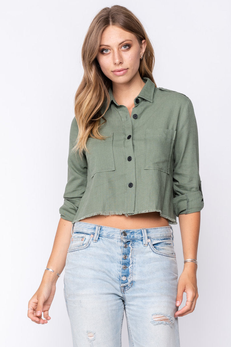 Fore | Green Cropped Button Up Blouse