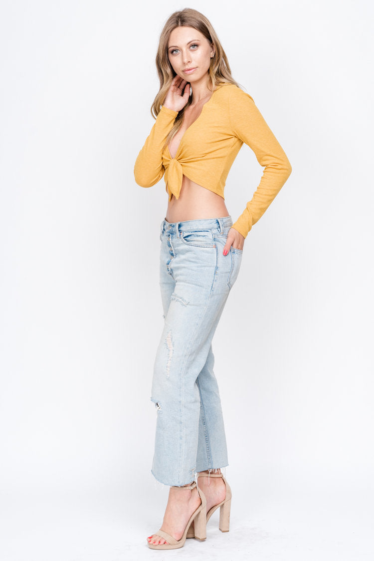 Fore | Yellow Long Sleeve Front Tie Sweater Top