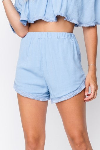 Fore | Blue Woven High-Waisted Shorts