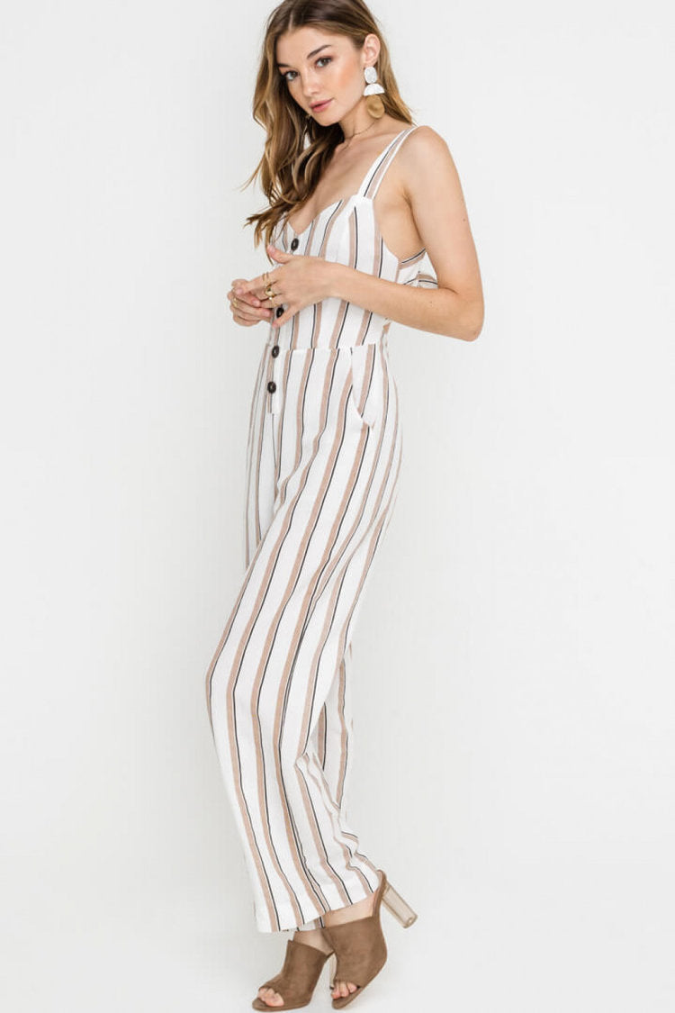 Lush | White Buttoned Wide Leg Jumpsuit