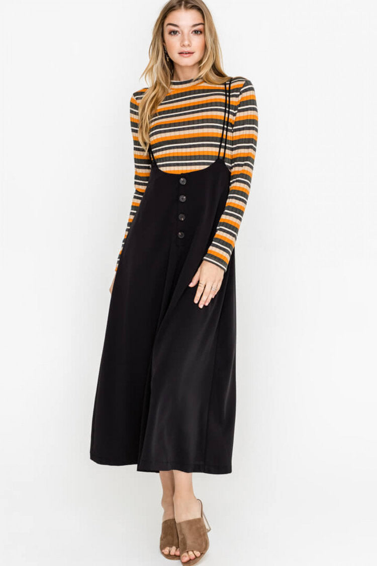 Lush | Black Shoulder Strap Buttoned Midi Skirt