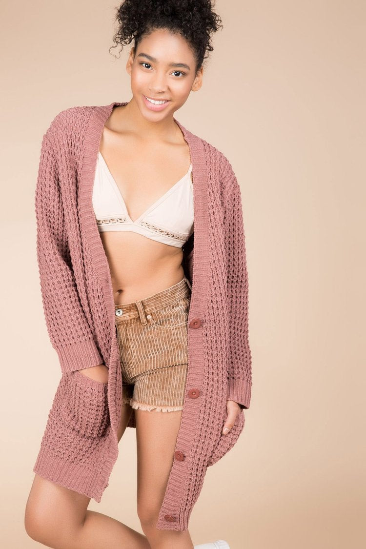 POL | Pink Chenille Cable Knit Sweater Cardigan