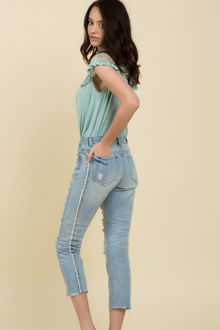 POL | Blue Cropped Distressed Jeans