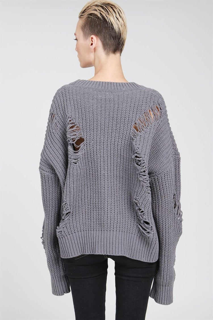 POL | Grey Destroyed Basic Chenille Sweater
