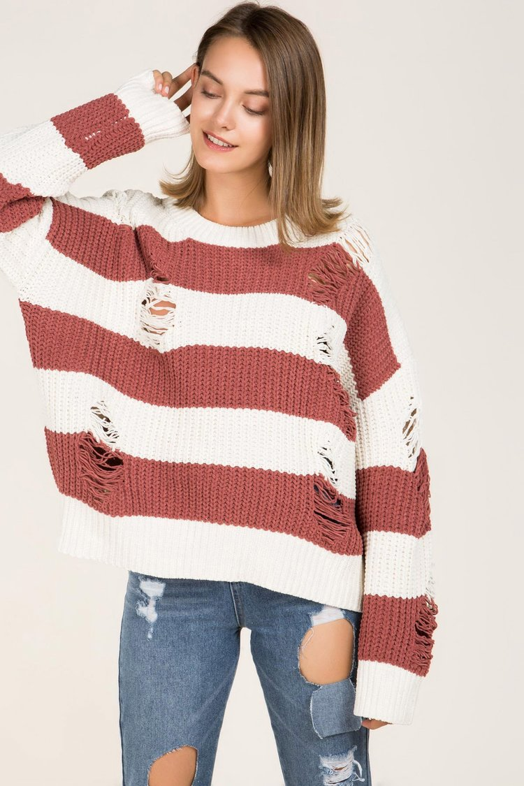 POL | Red Destroyed Chenille Pullover Sweater