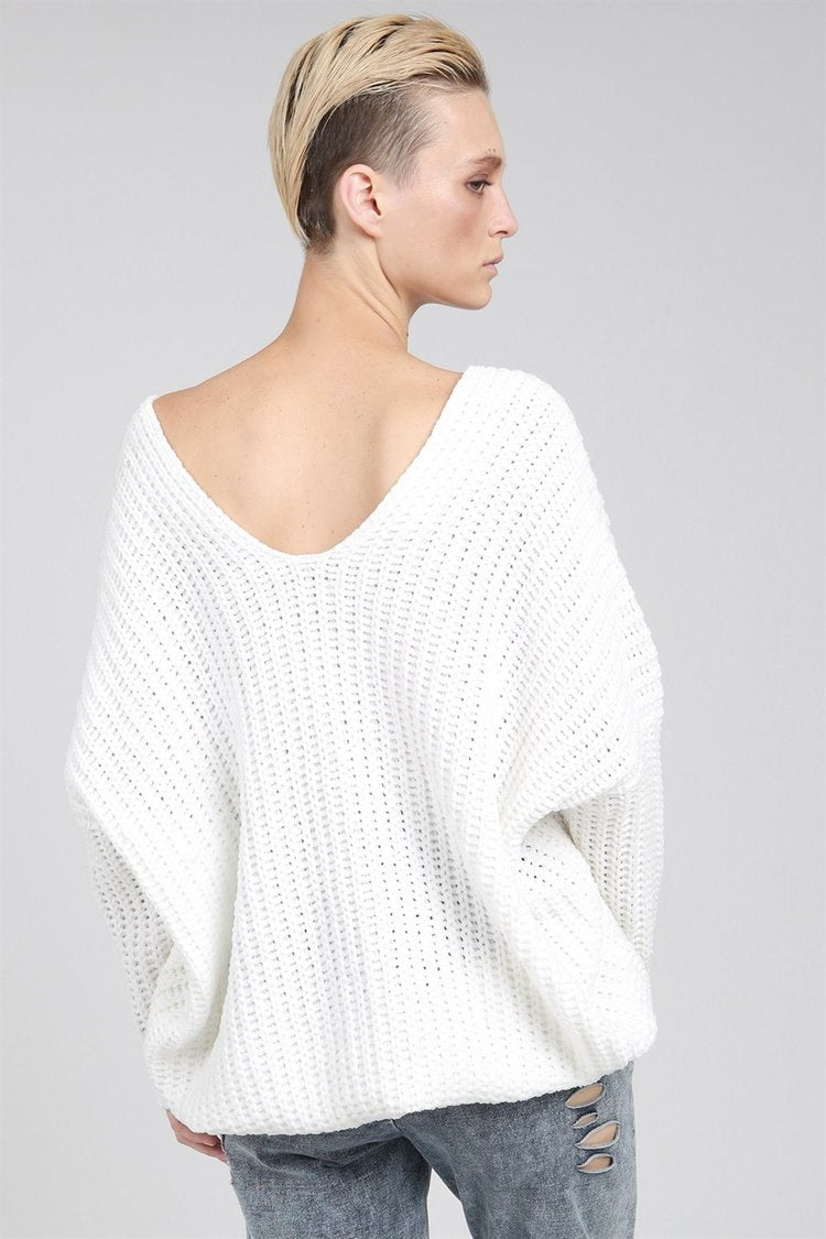 POL | White Drop Shoulder Cable Knit Sweater