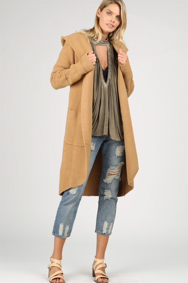 POL | Brown Longline Knitted Cardigan