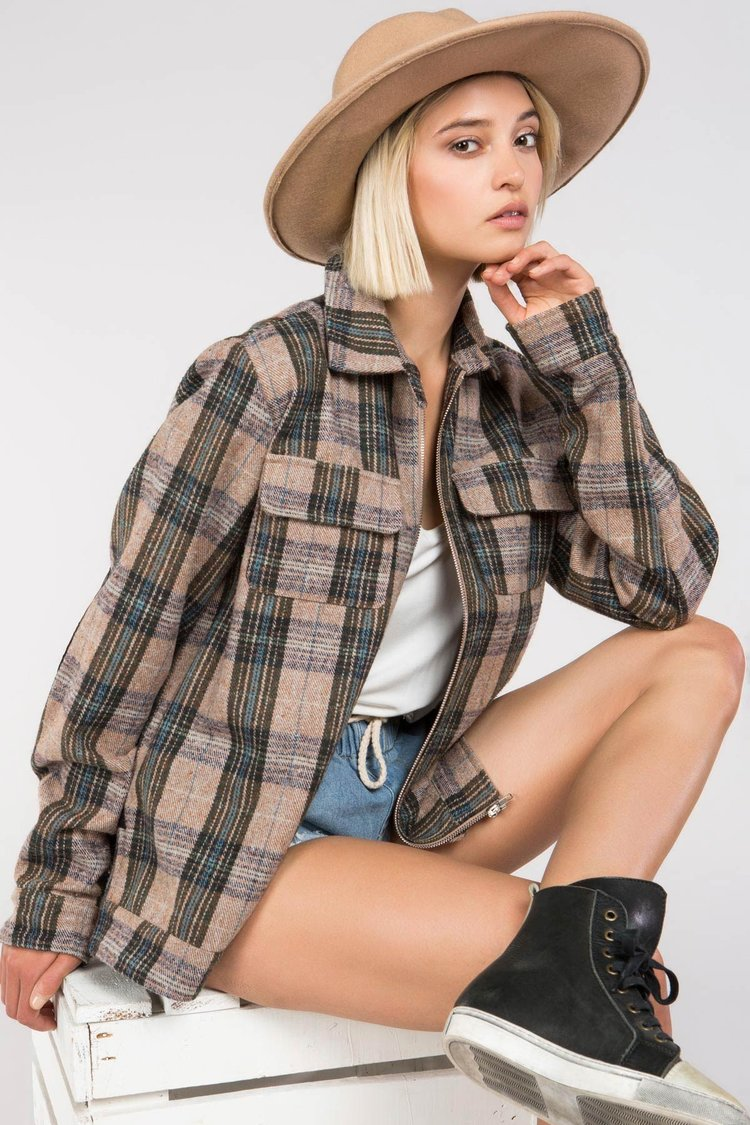 POL | Plaid Zip Up Jacket