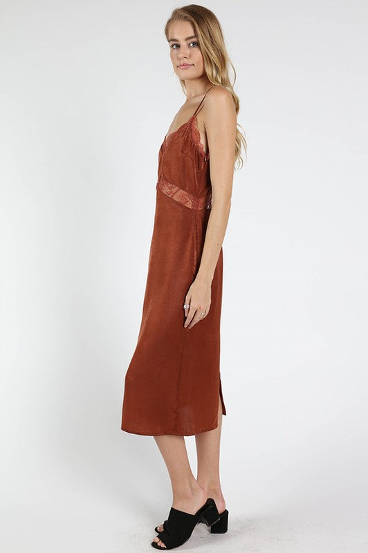 Wild Honey | Orange Satin Slip Dress