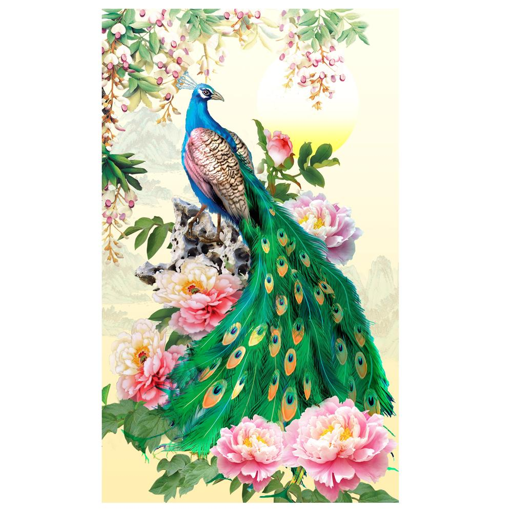 Flower Peafowl DIY Partial Drill Round Drill Diamond Painting