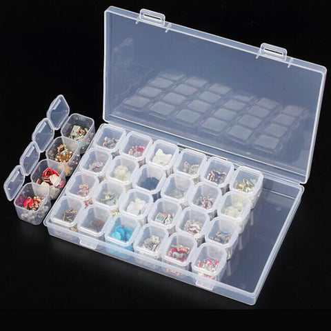 Plastic 28 Slots Diamond Painting Beads Box Storage Box Drill Box Case Organizer