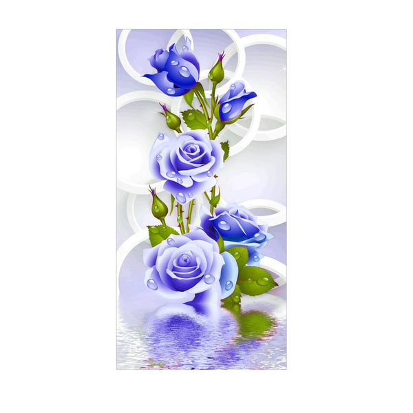 Blue Rose Flower 5D DIY Partial Drill Round Drill Diamond Painting