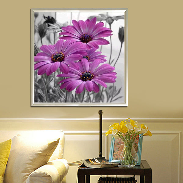 Daisy Flower 5D DIY Round Drill Partial Drill Diamond Painting